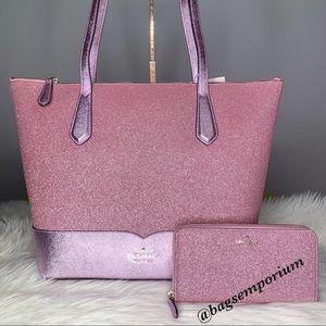 Kate Spade Large Glitter Tote Bag Wallet Set